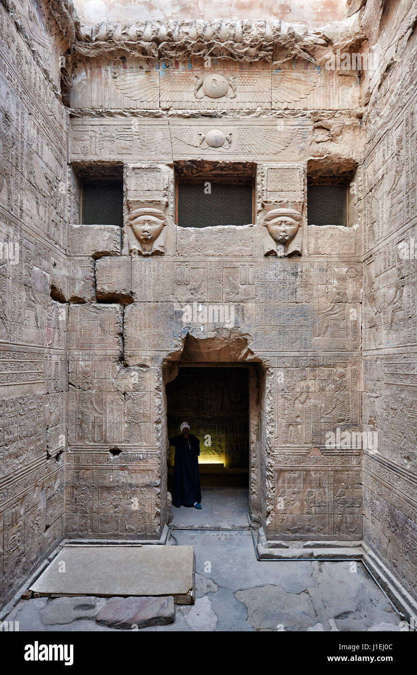 Wabet (purification chapel) inside Hathor temple in ptolemaic Dendera Temple complex, Qena, Egypt, Africa - Stock Image