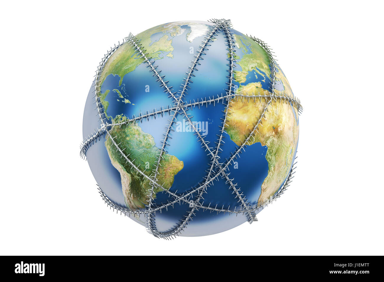Earth globe with barbed wire, 3D rendering Stock Photo: 138621304 ...