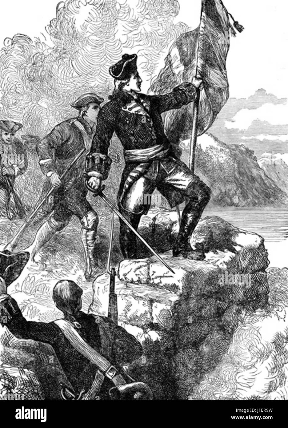 FRENCH AND INDIAN WAR: WASHINGTON PLANTING THE FLAG ON FORT DU QUESNE Stock Photo