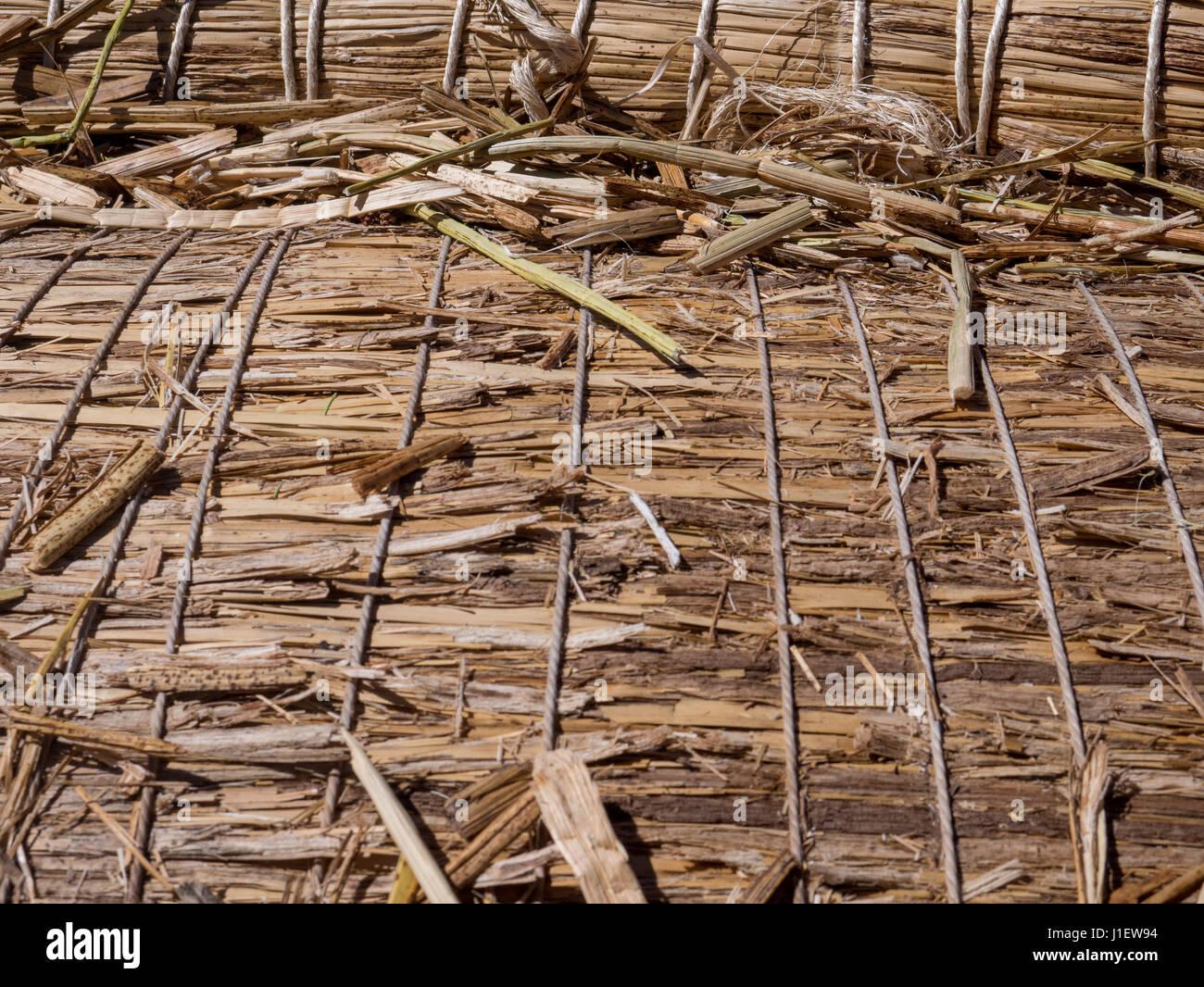 Titikaka reed bundle. A beam of Uros reed detail - Stock Image