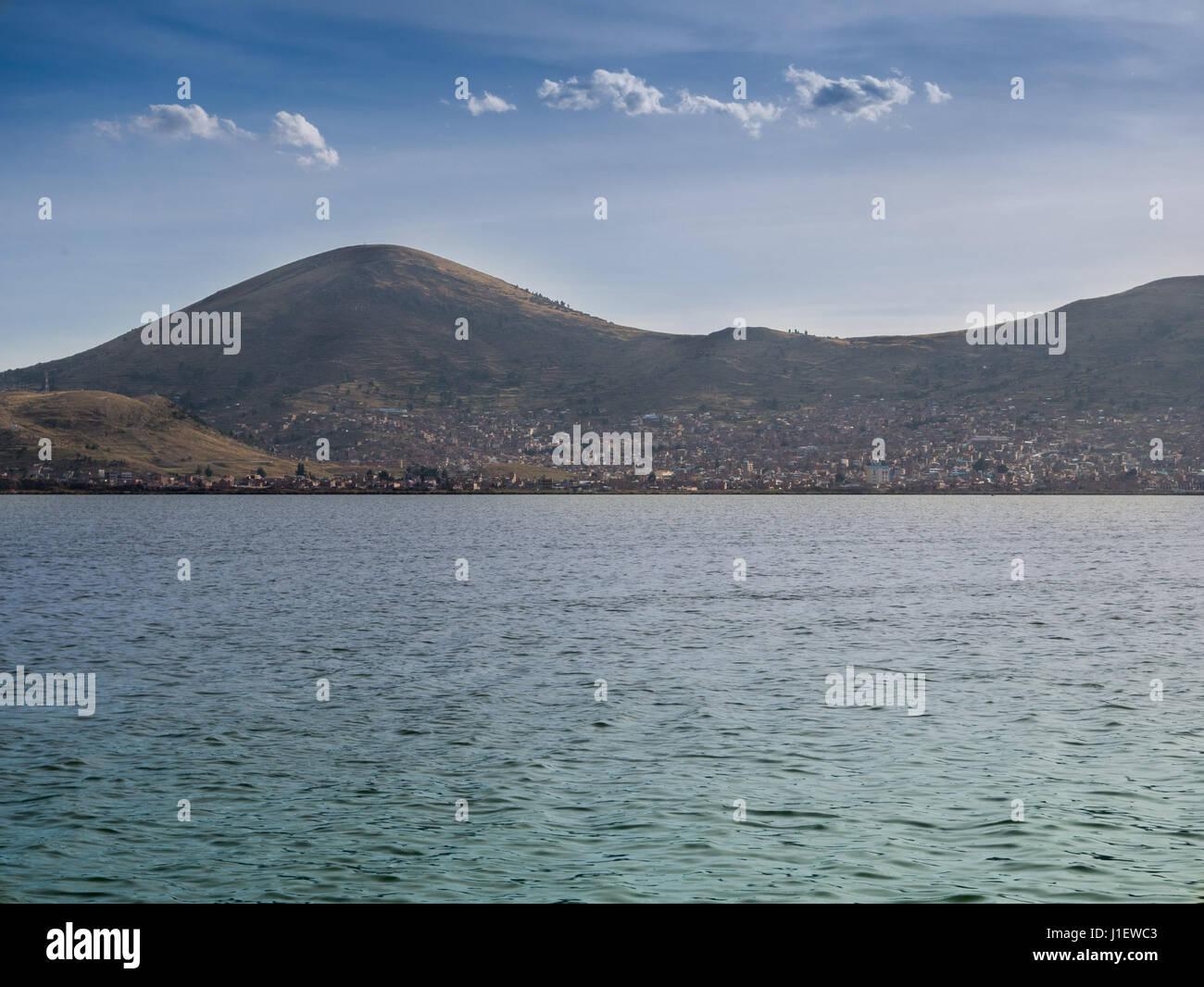 Puno City on the shore of Lake Titikaka Peru South America - Stock Image