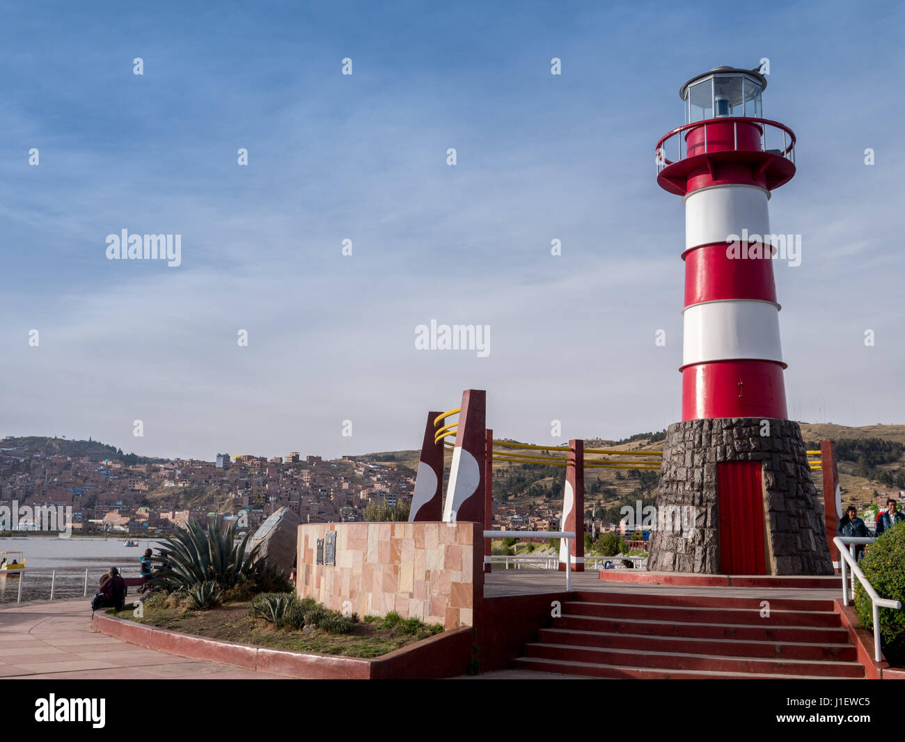 Puno City on the shore of Lake Titikaka Peru South America, lighthouse Stock Photo