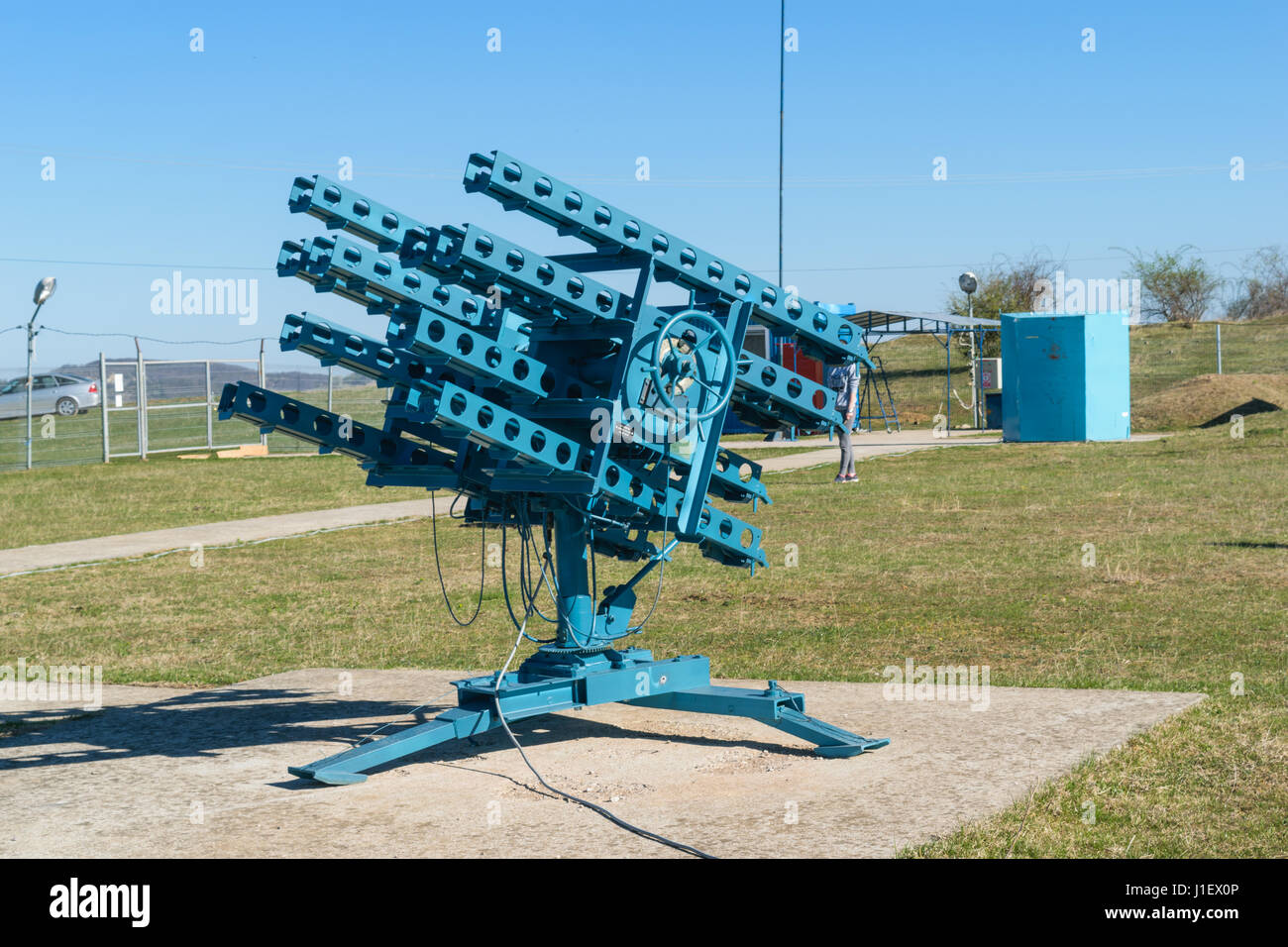 Anti hail rocket launcher inside and anti hailstorm prevention site - Stock Image