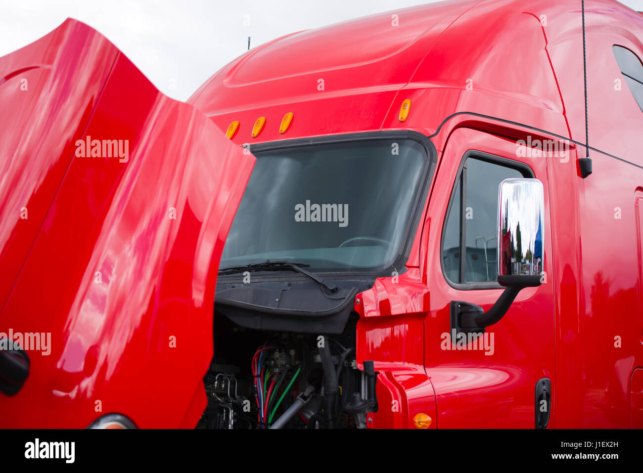 A Bundle Of Wires Stock Photos Images Alamy 9 Pin Deutch Connector On Semi Trucks Huge Professional Bright Shiny Modern Red Big Rig Truck With High Roof Cab And