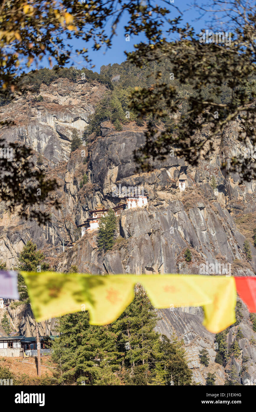 Taktshang Goemba or Tiger's nest Temple the beautiful buddhist temple (Bhutan) Stock Photo