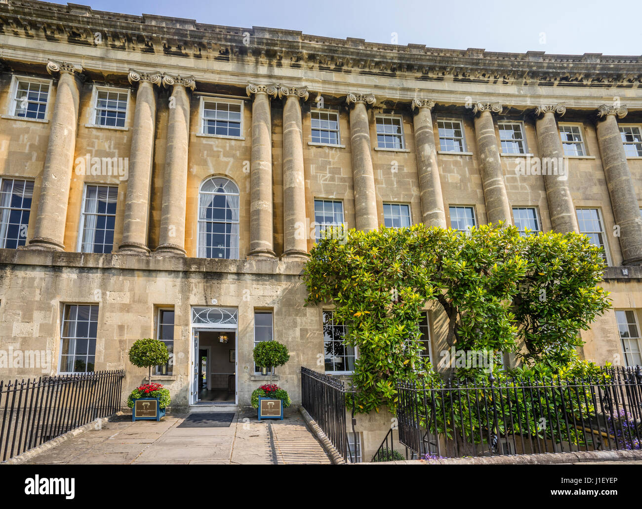 United Kingdom, Somerset, city of Bath, entrance to the Royal Crescent Hotel & Spa - Stock Image