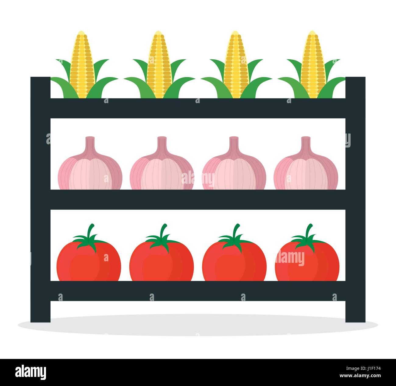 vegetables market stall fresh - Stock Vector