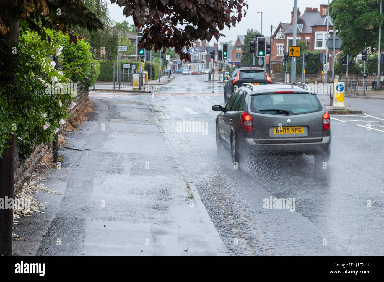 Traffic in bad weather, Nottinghamshire, England, UK - Stock Image