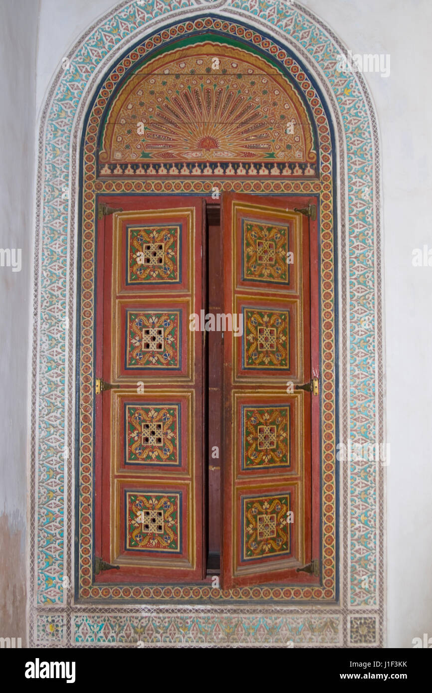 Ornate painted woodwork in the 19th century El Bahia Palace in Marrakesh, Morocco. - Stock Image