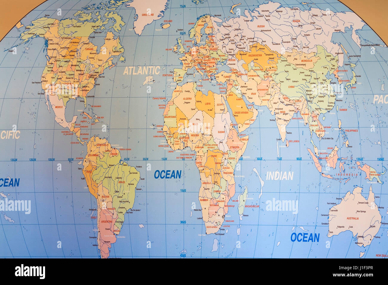 Canada and pacific ocean on globe stock photos canada and pacific world map wall mural stock image gumiabroncs Image collections