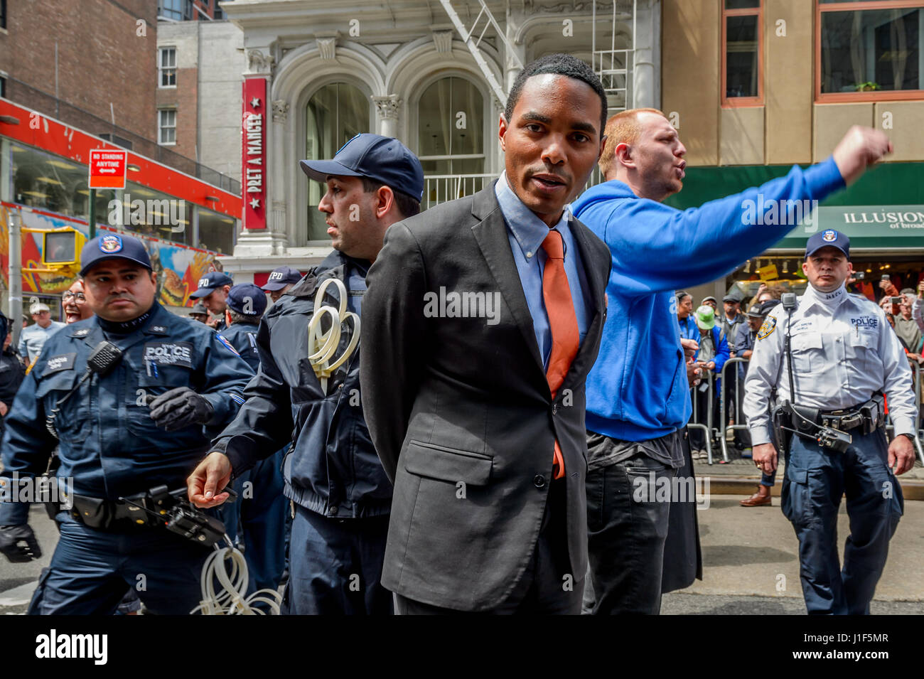 New York, USA . 20th Apr, 2017. City Councilman Ritchie Torres got arrested in an act of Peaceful Civil Disobedience. Stock Photo