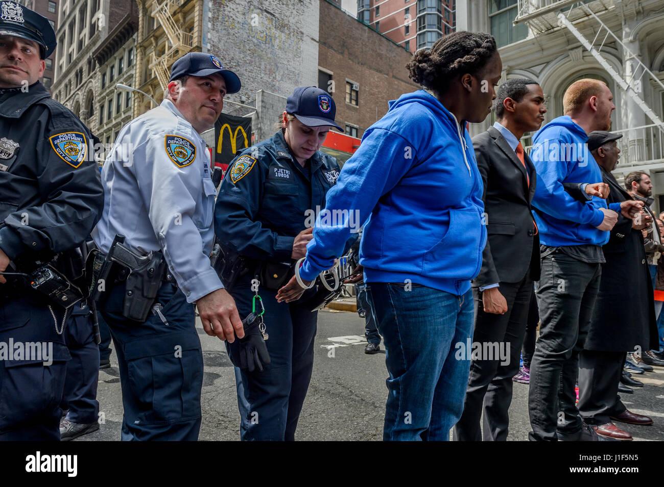 New York, USA . 20th Apr, 2017. Community Voices Heard (CVH) Executive Director Affua Atta-Mensah got arrested in Stock Photo