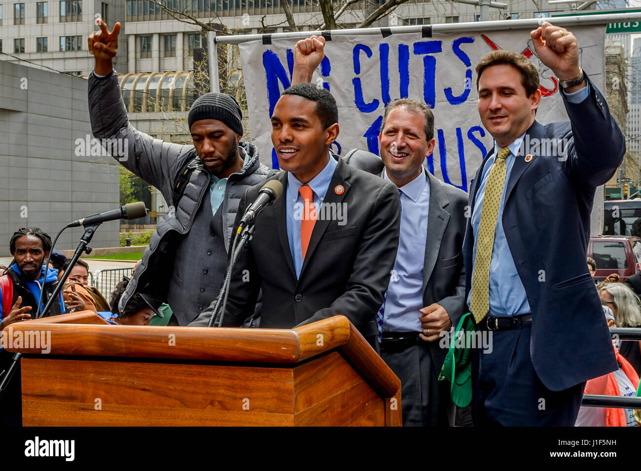 New York, USA . 20th Apr, 2017. New York City Councilmembers addressing the crowd - In an act of Peaceful Civil Stock Photo
