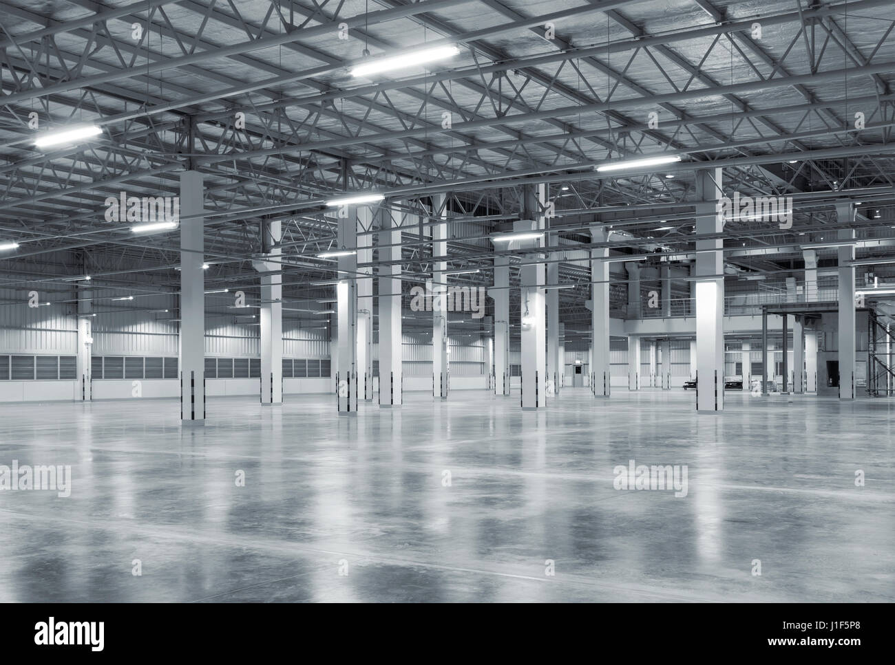 Empty Factory Building Or Warehouse Building With Concrete