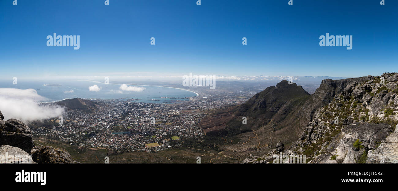 View from Table Mountain of Cape Town, with Devils Peak, Western Cape, South Africa - Stock Image