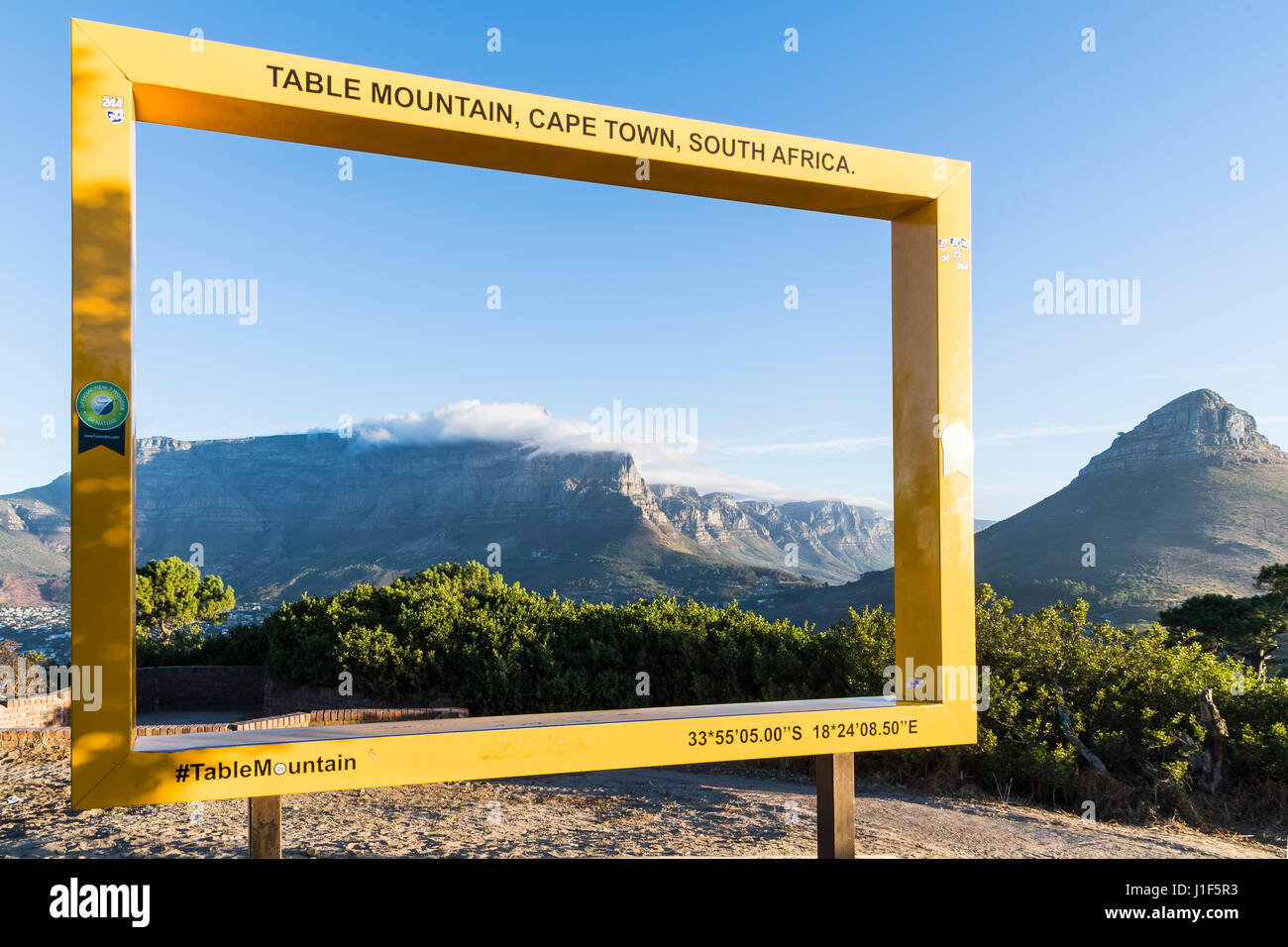 Photopoint at Signal Hill with Tafelberg and Lionshead, Cape Town, Western Cape, South Africa - Stock Image