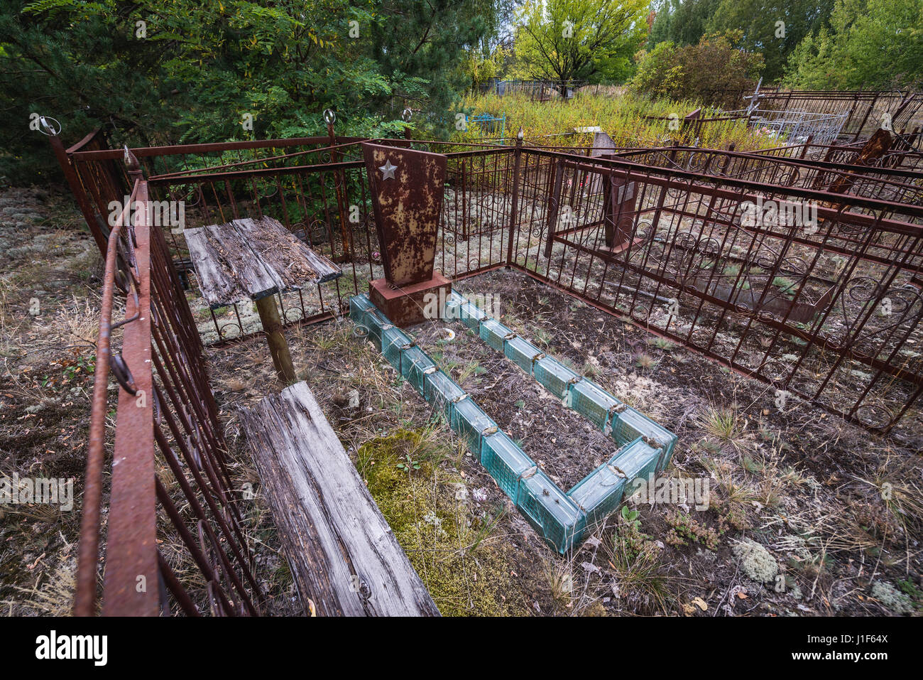 Cemetery in Pripyat ghost city of Chernobyl Nuclear Power Plant Zone of Alienation around nuclear reactor disaster - Stock Image