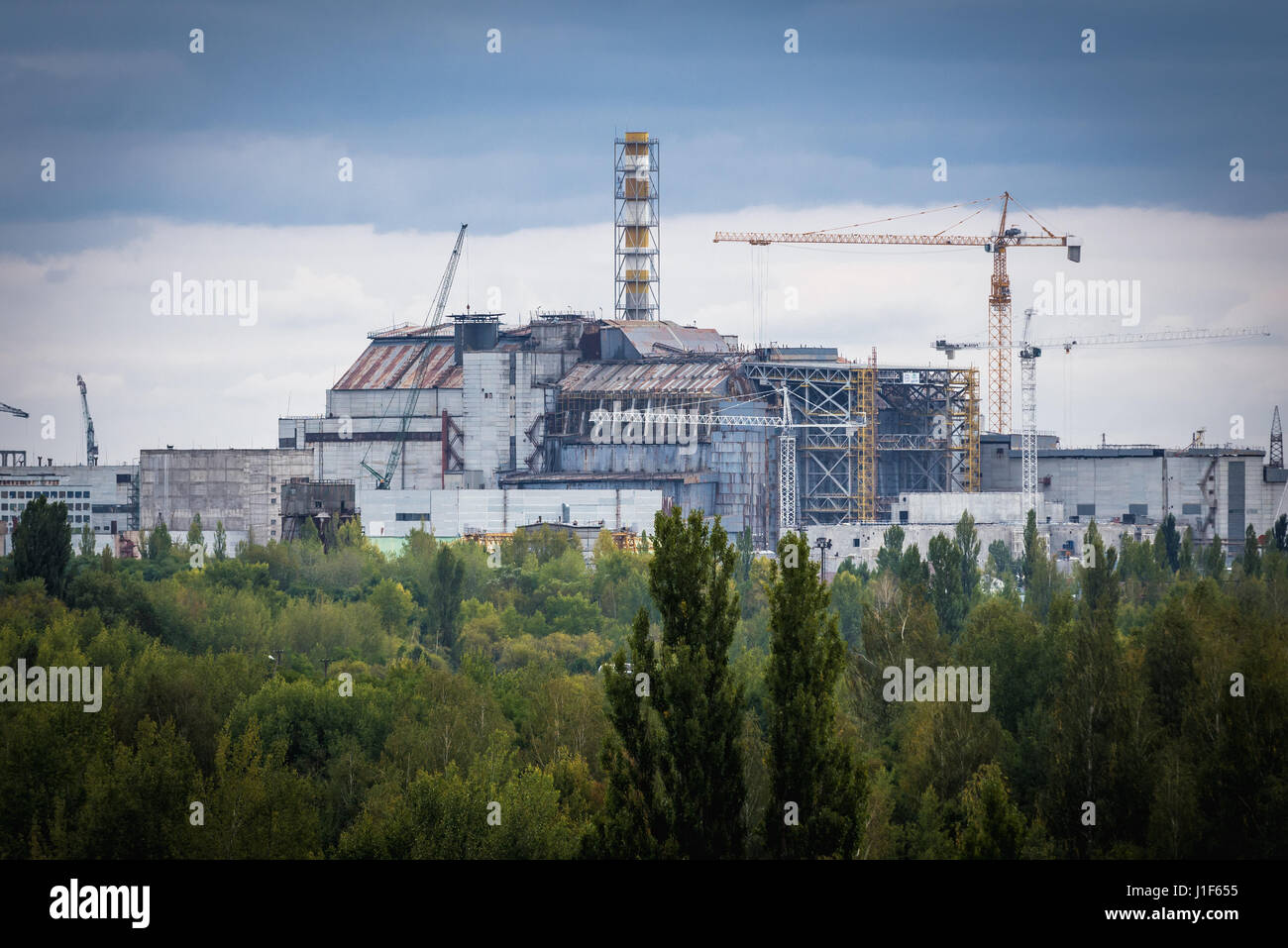 Reactor number 4 of Chernobyl Nuclear Power Plant in Zone of Alienation around nuclear reactor disaster in Ukraine - Stock Image