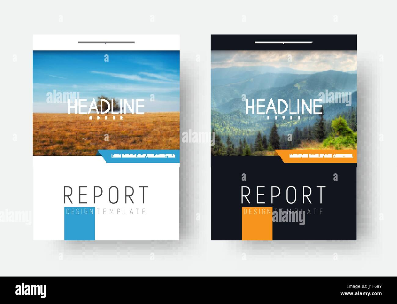 Black and white cover for the report. Flyer template, brochures in a minimalist style with a rectangular shape for - Stock Vector