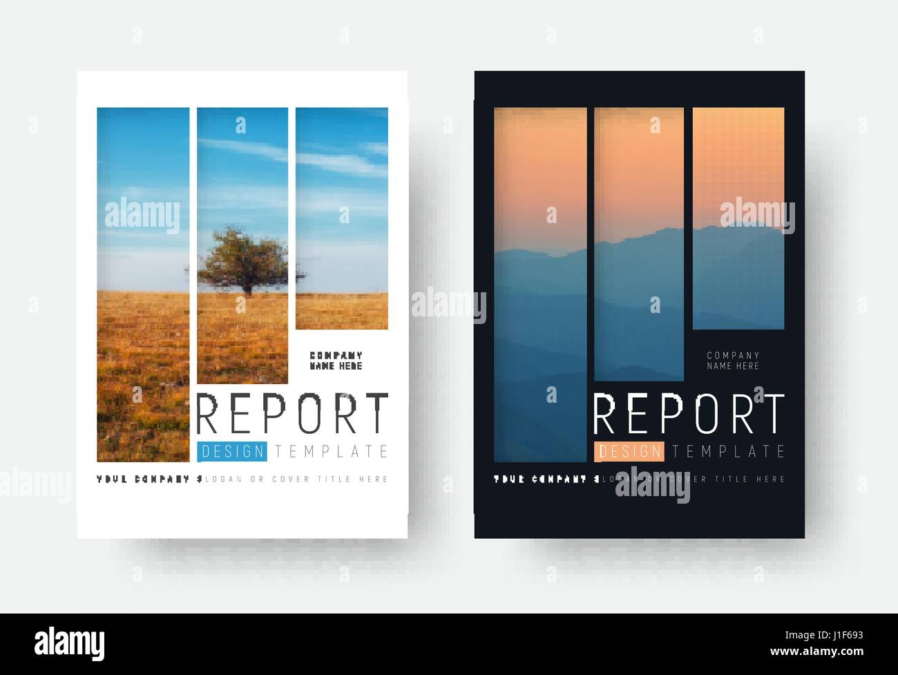 set of white and black report covers with a landscape and mountains in a minimalist style. A brochure template with - Stock Vector