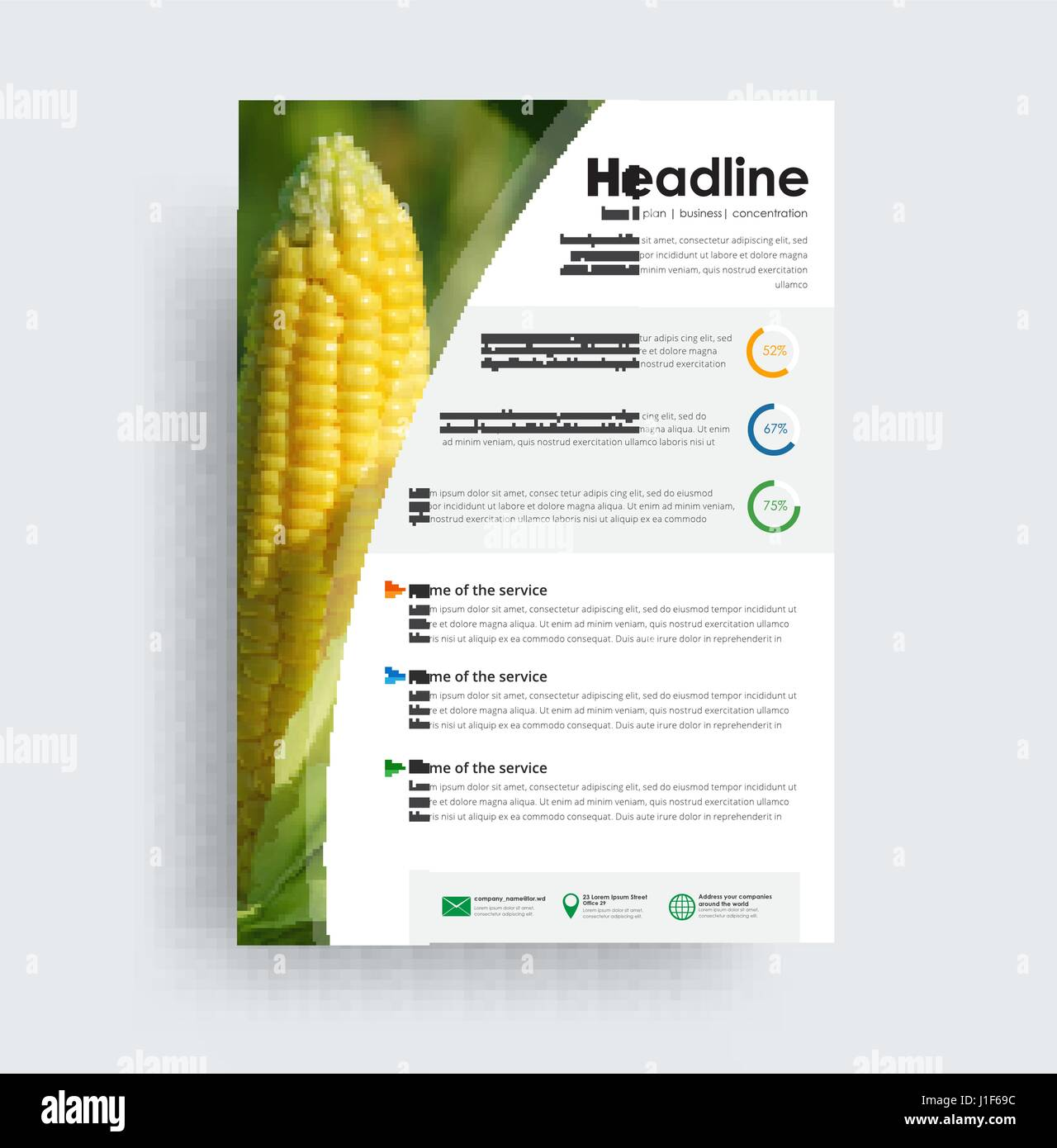 Flyer format A4 format. Cover design with photo corn. Universal brochure for advertising business, travel, food Stock Vector