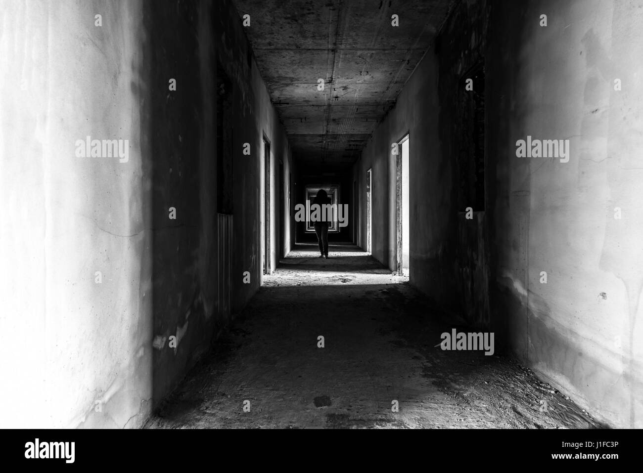 Abandoned Building With Ghost Walking In Walkway Horror Scene Creepy Background