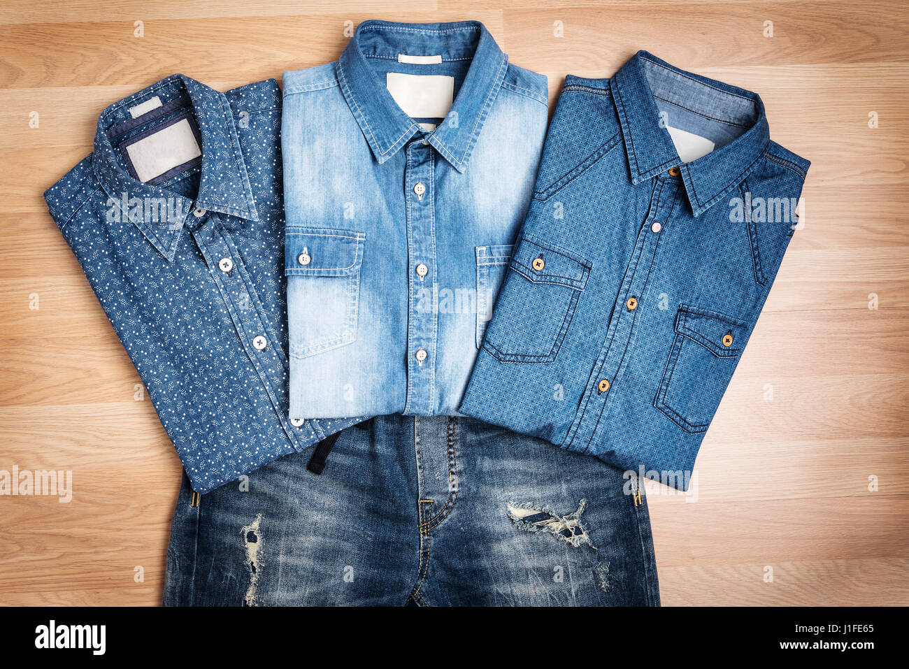 Men Casual Fashion Outfit On Wooden Table Top View Blue Cotton