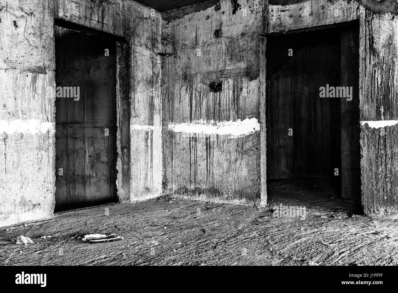 abandoned building creepy place, darkness horror creepy and halloween background - Stock Image