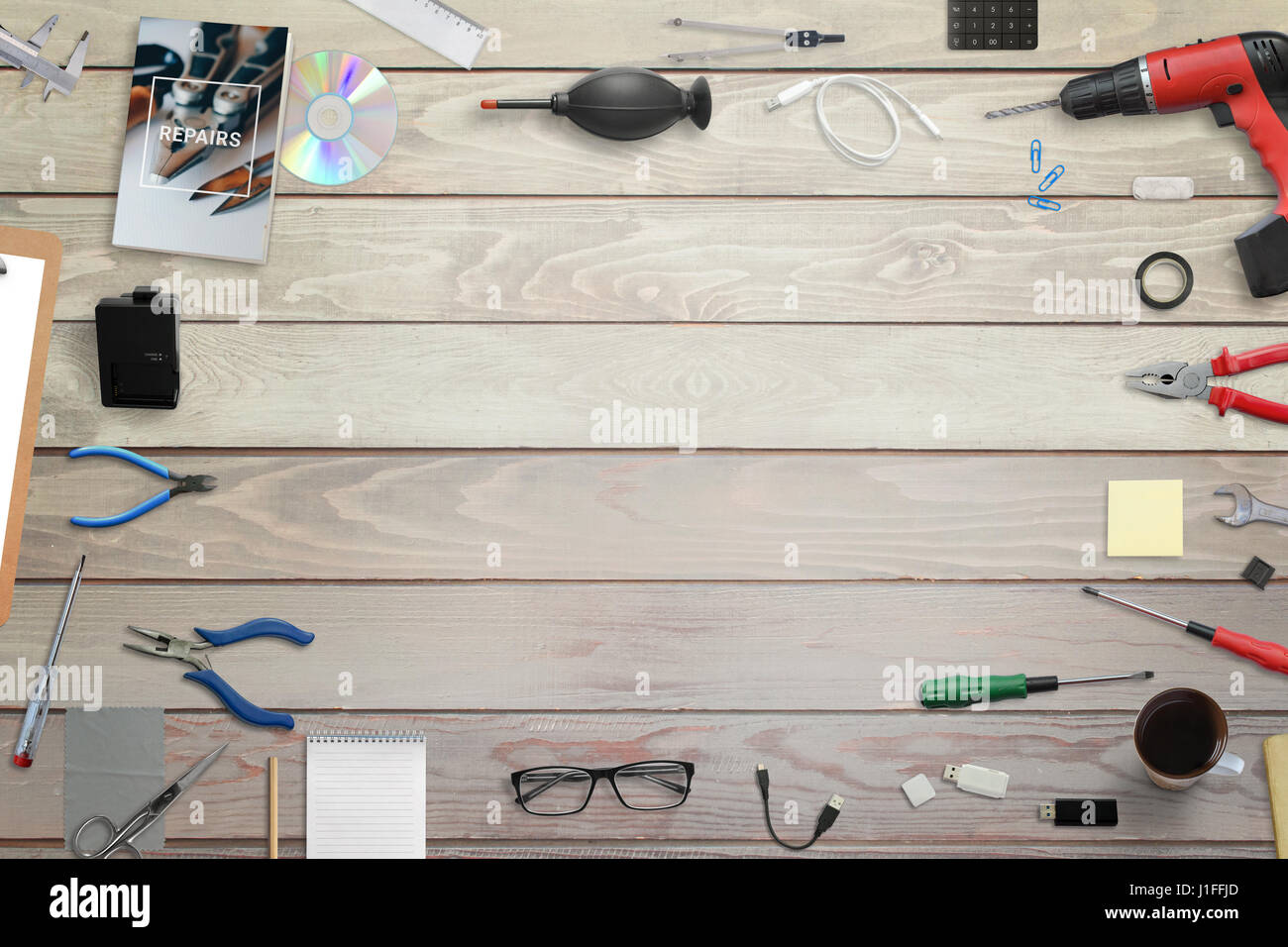 Top view engineer wooden table stock photos top view engineer tools for electronic maintenance top view of wooden desk free space hero header greentooth Gallery