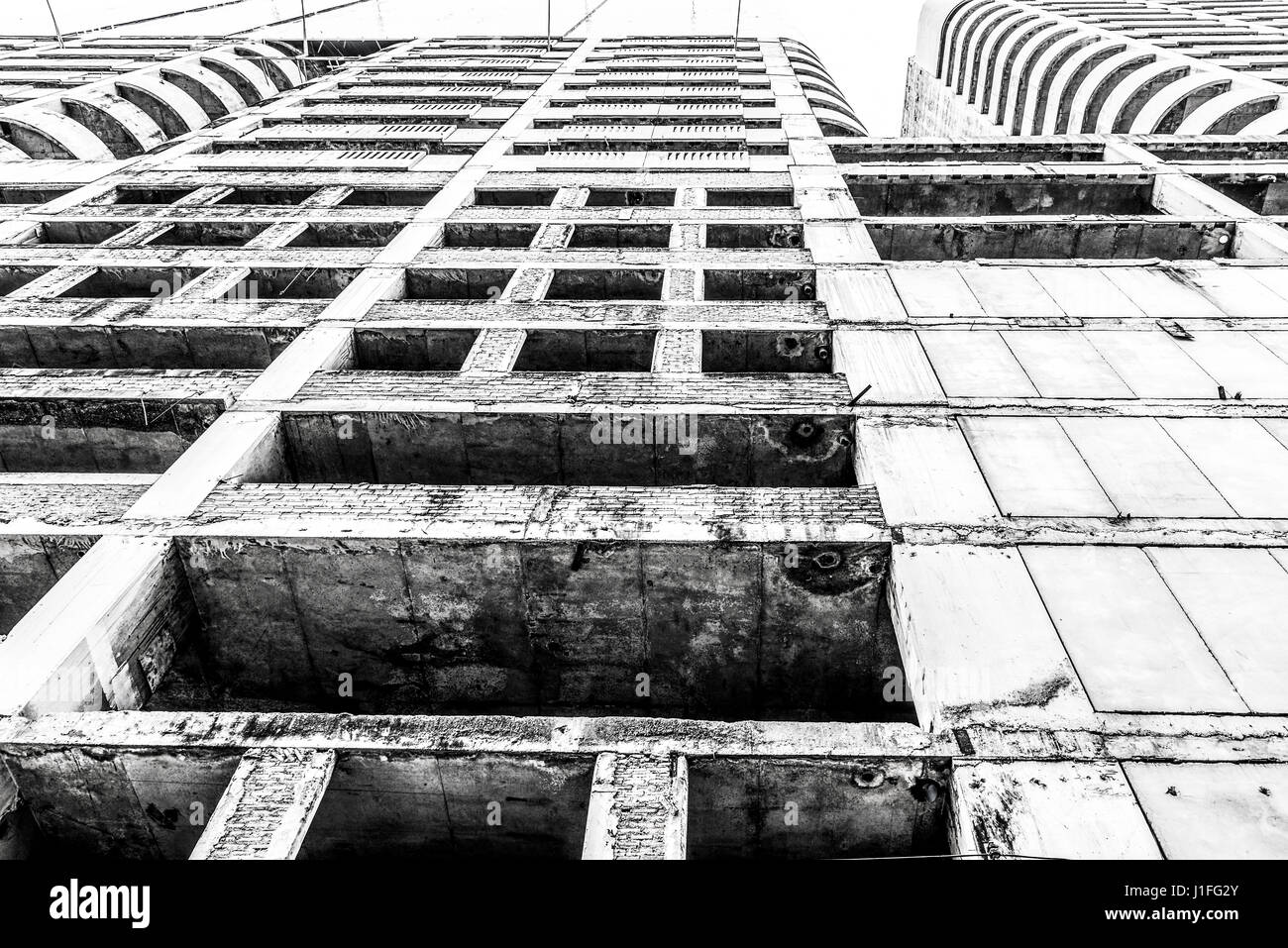 Old abandoned building. Horror creepy building background concept - Stock Image