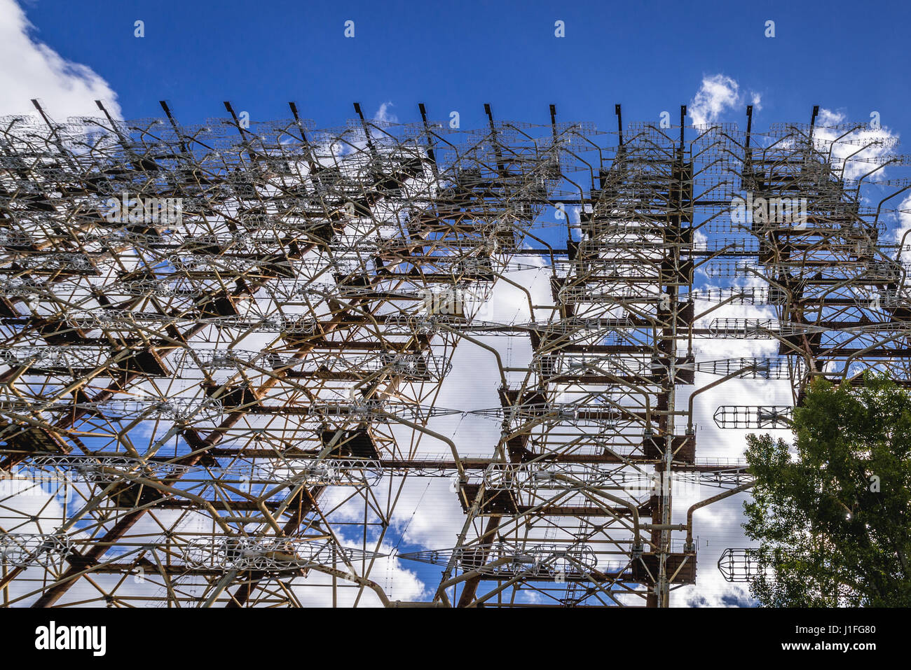 Ground view of old Soviet radar system called Duga near Cherobyl town in Chernobyl Nuclear Power Plant Zone of Alienation Stock Photo