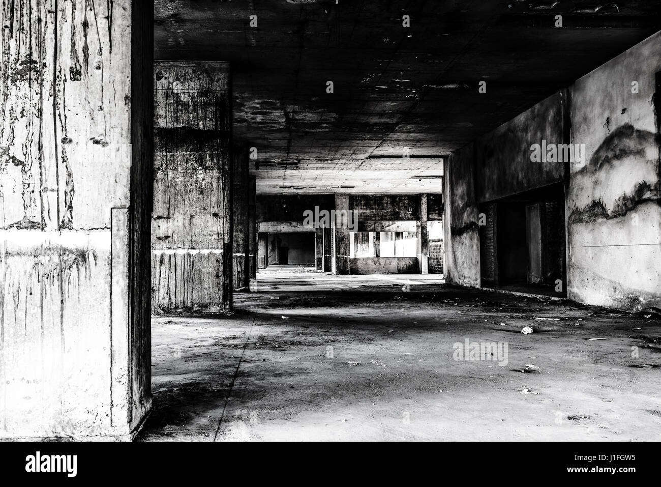 Abandoned building ghost living place, darkness creepy and horror background concept - Stock Image