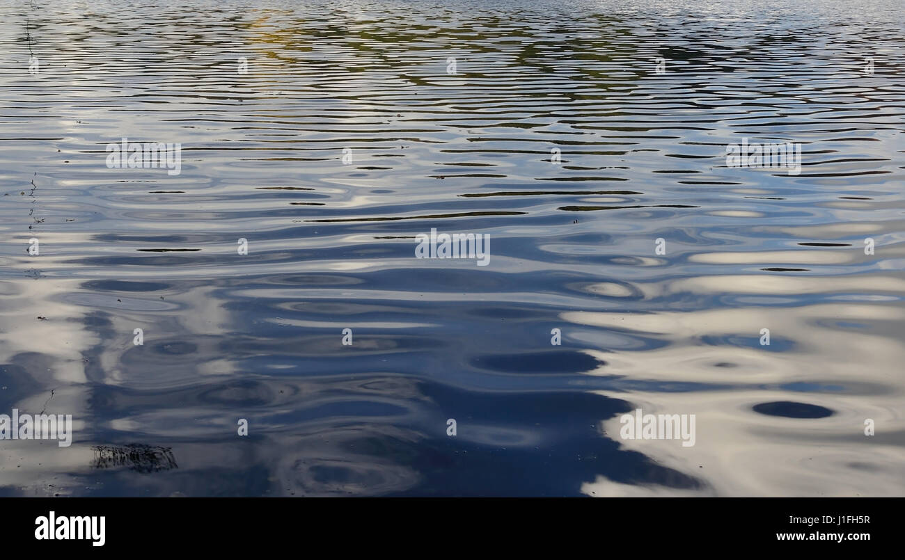Ripples on a Wiltshire lake. - Stock Image