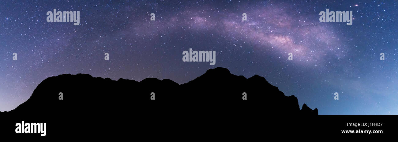 Milky way panorama landscape on mountain, astrophotography and nightscape photography in thailand - Stock Image