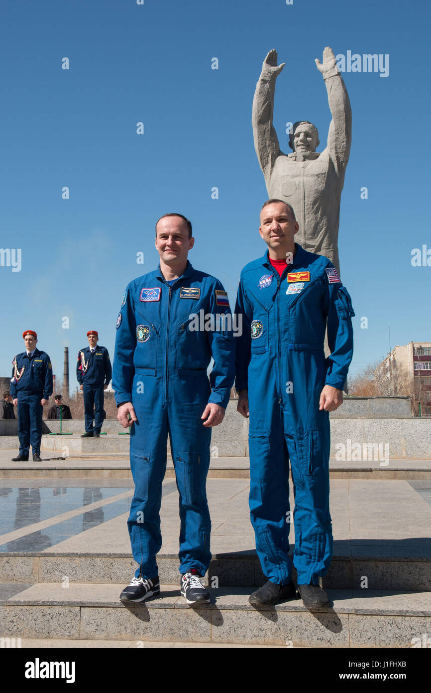NASA International Space Station Expedition 51 Soyuz MS-04 mission backup crew members Russian cosmonaut Sergey - Stock Image