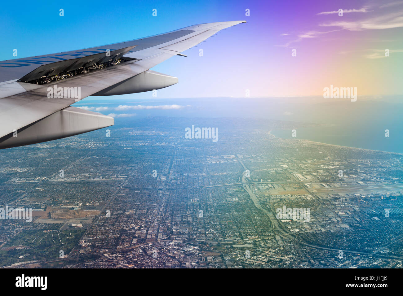 Flying into LAX, back from vacation. - Stock Image