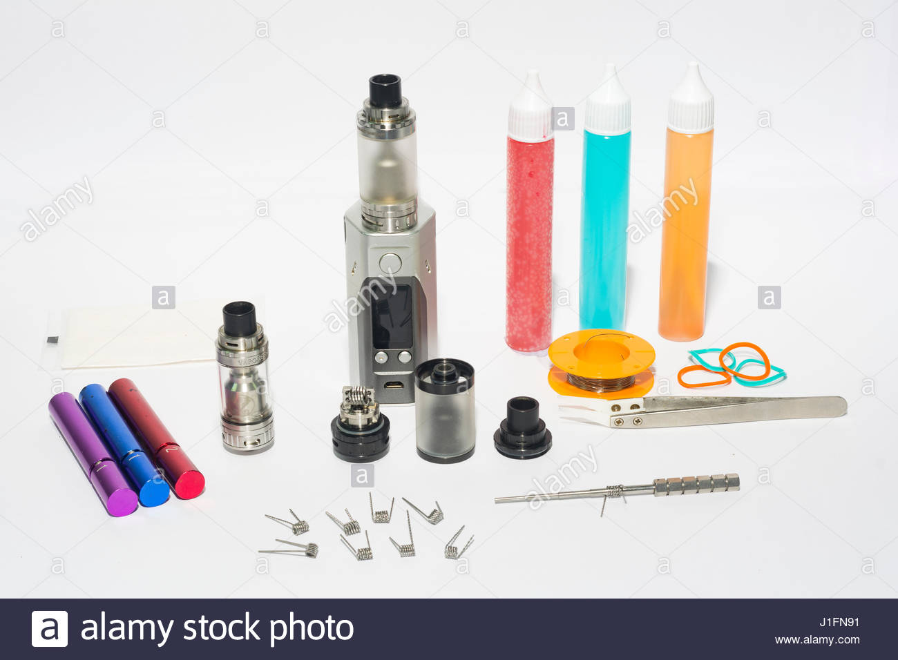 e cigarette set on isolated white background composition photograph - Stock Image