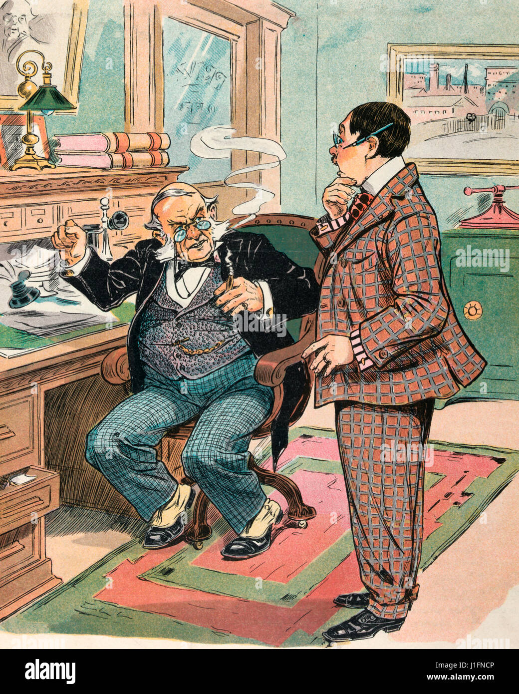Unionism -  Illustration shows a clerk in an office telling his employer that he needs a raise because he is getting - Stock Image