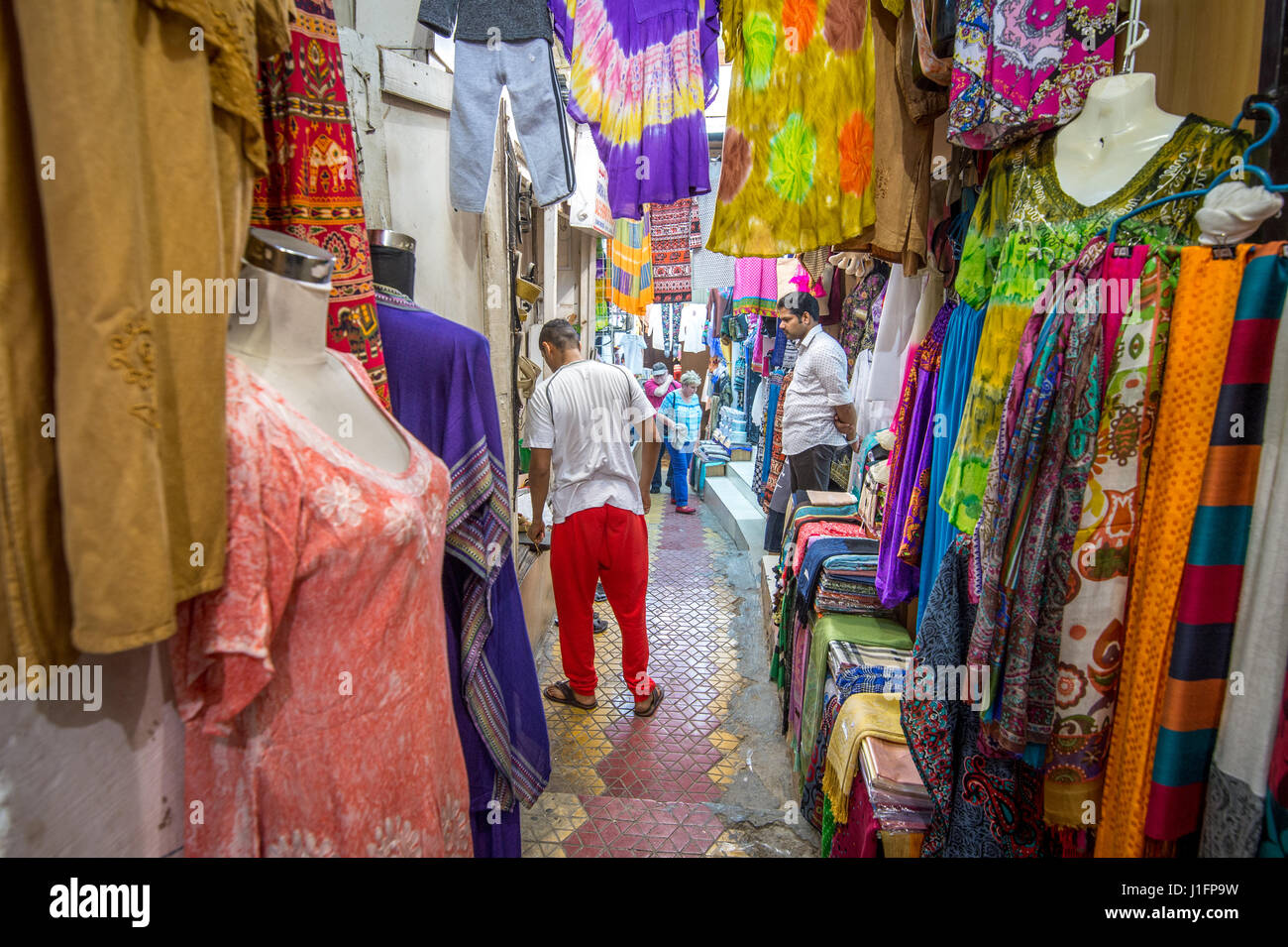 Muscat, Oman - Souq Muttrah People shopping in close quarters in