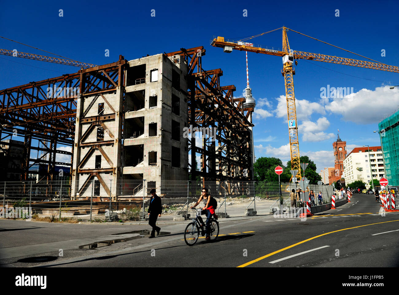 baustelle, baustellen, berlin, brd, breakup, building, bundesrepublik, construction, crane, ddr, demolition, architecture, - Stock Image