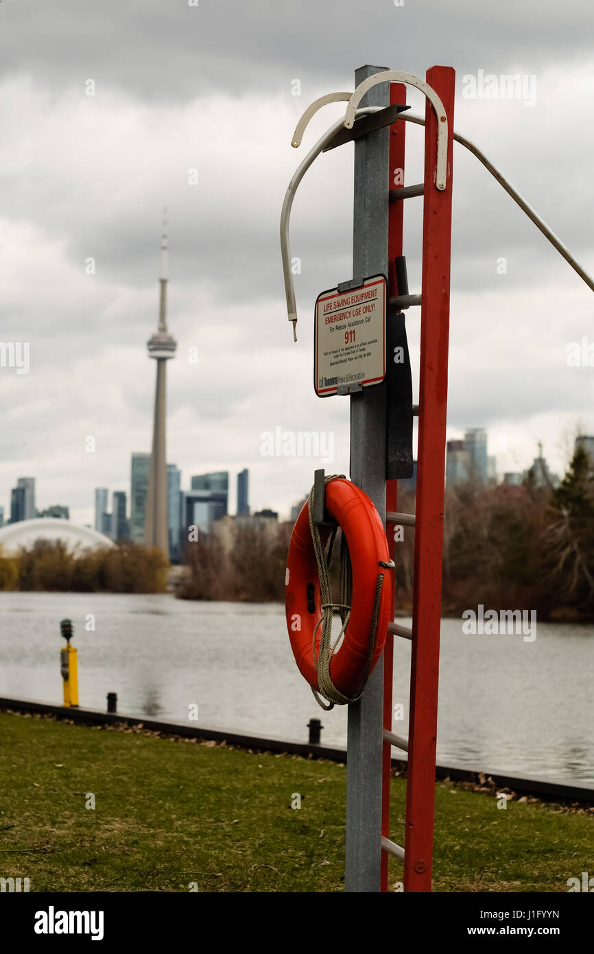 An emergency rescue floatation device on the Toronto Islands. Stock Photo