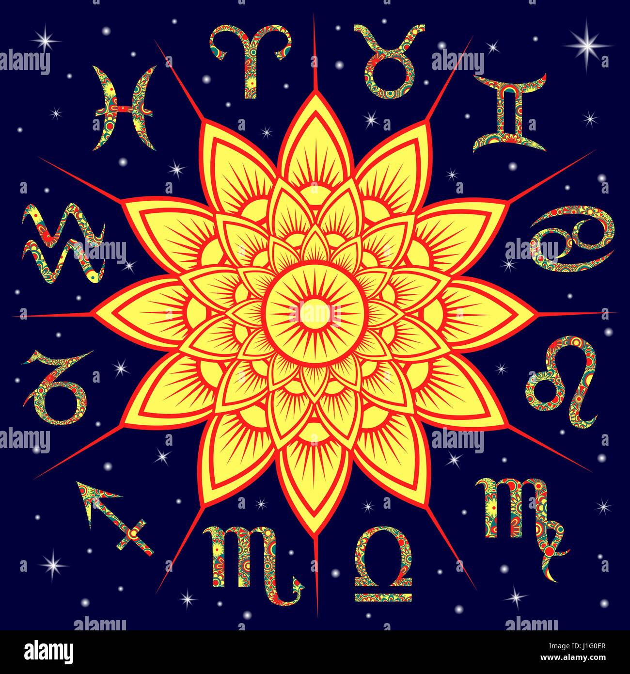 Twelve ornate floral Zodiac signs around the yellow Sun on a Stock