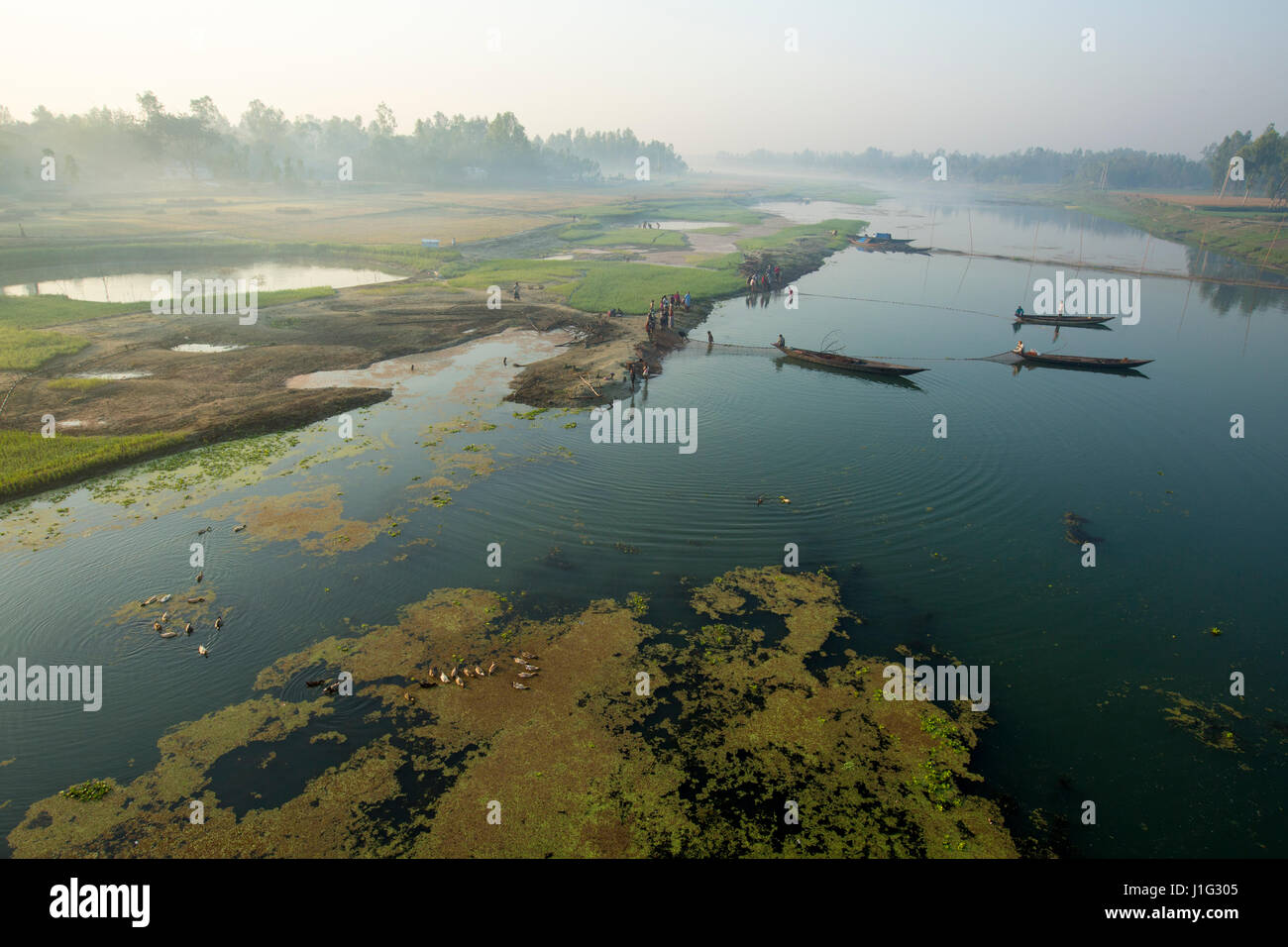 View of the dry Bangali River in Sariakandi. Bogra, Bangladesh. - Stock Image