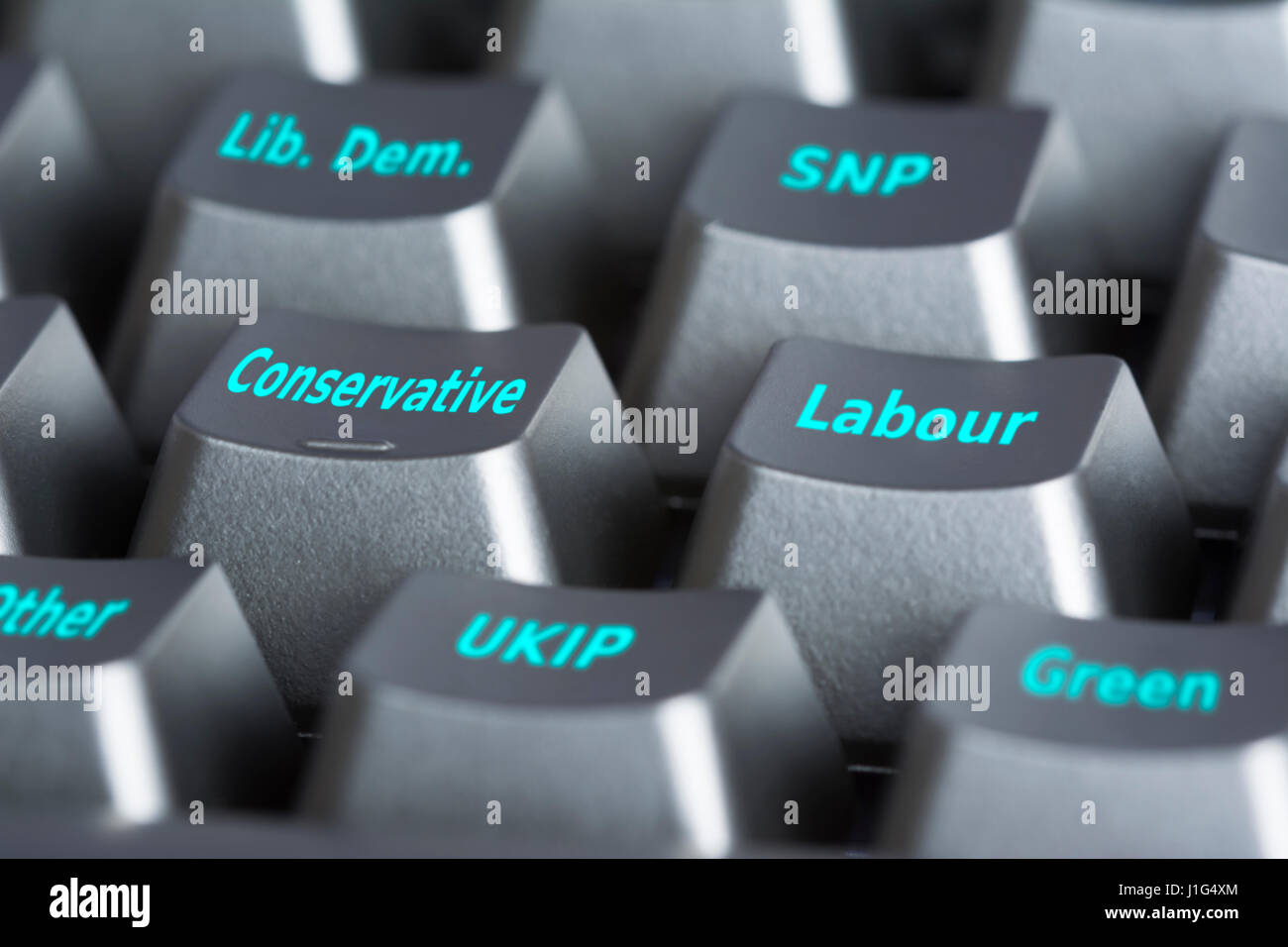 2017 UK general election. Computer keyboard with buttons for casting a vote of a political party in an election - Stock Image