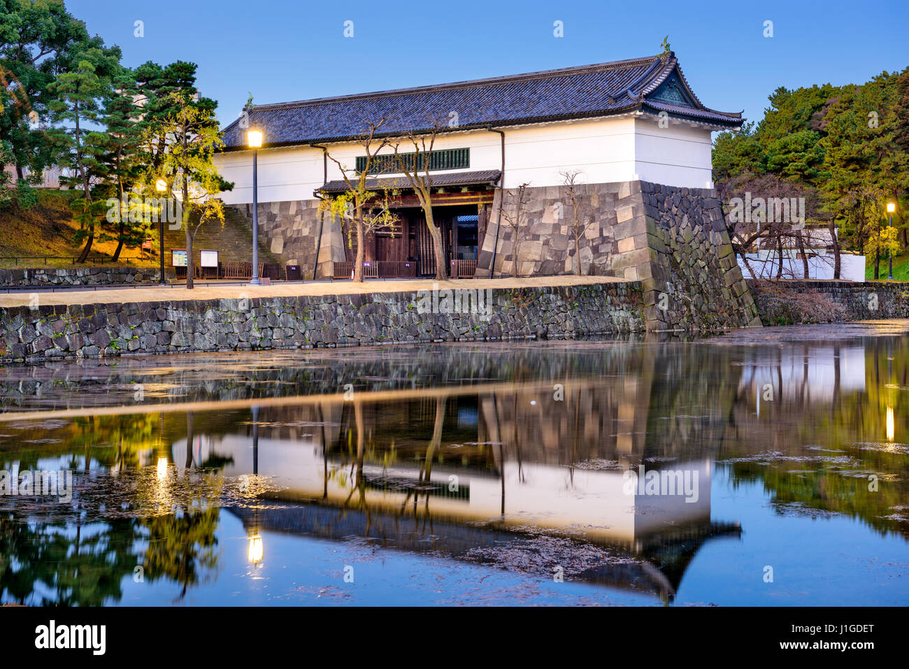 Tokyo, Japan Imperial Palace moat and gate. - Stock Image