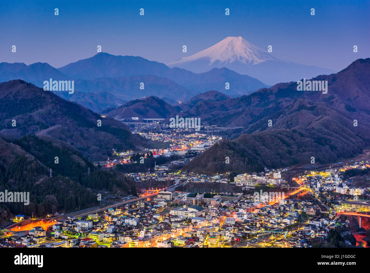 Otsuki, Japan Skyline with Mt. Fuji. - Stock Image