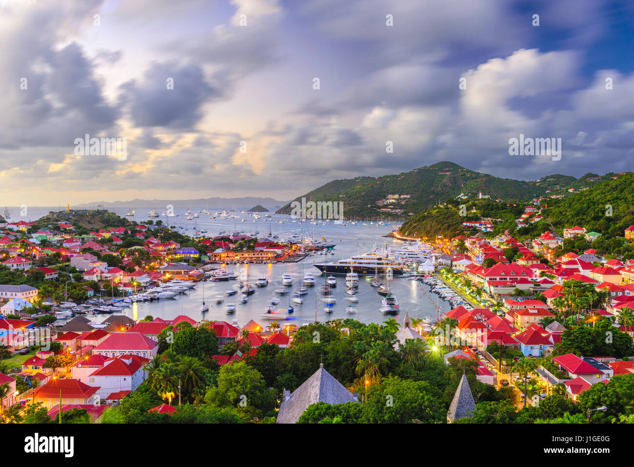 Saint Barthelemy skyline and harbor in the West Indies of the Caribbean. - Stock Image