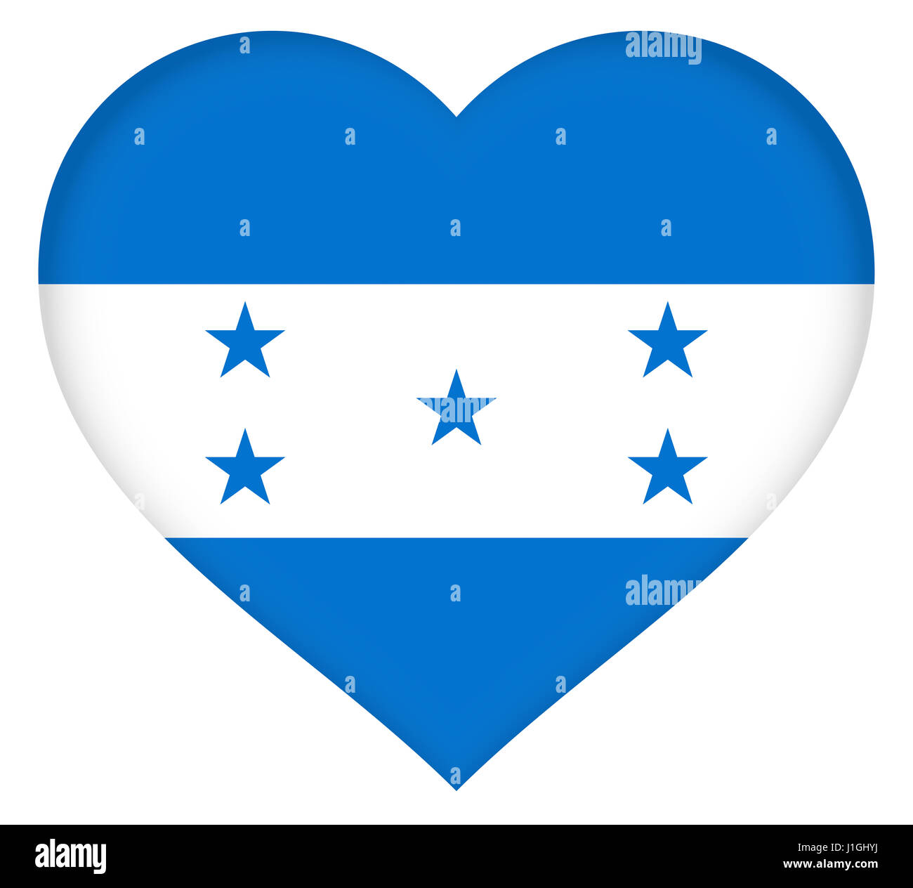Illustration of the national flag of Honduras shaped like a heart Stock Photo