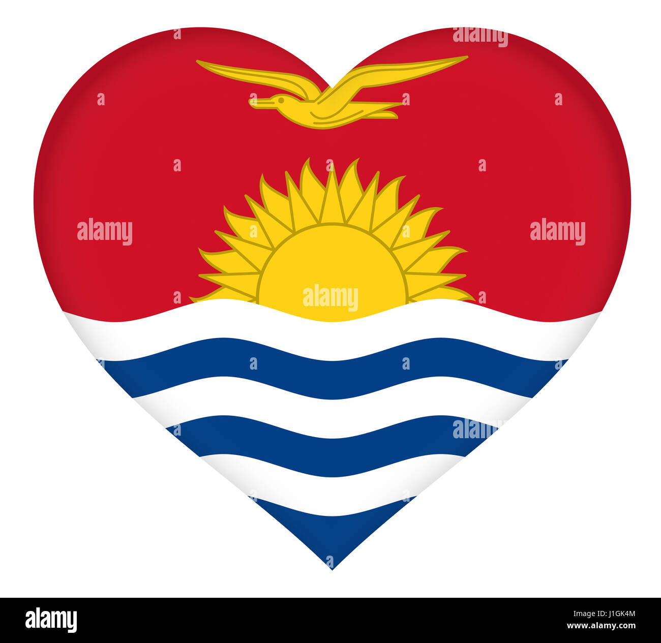 Illustration of the flag of Kiribati shaped like a heart - Stock Image