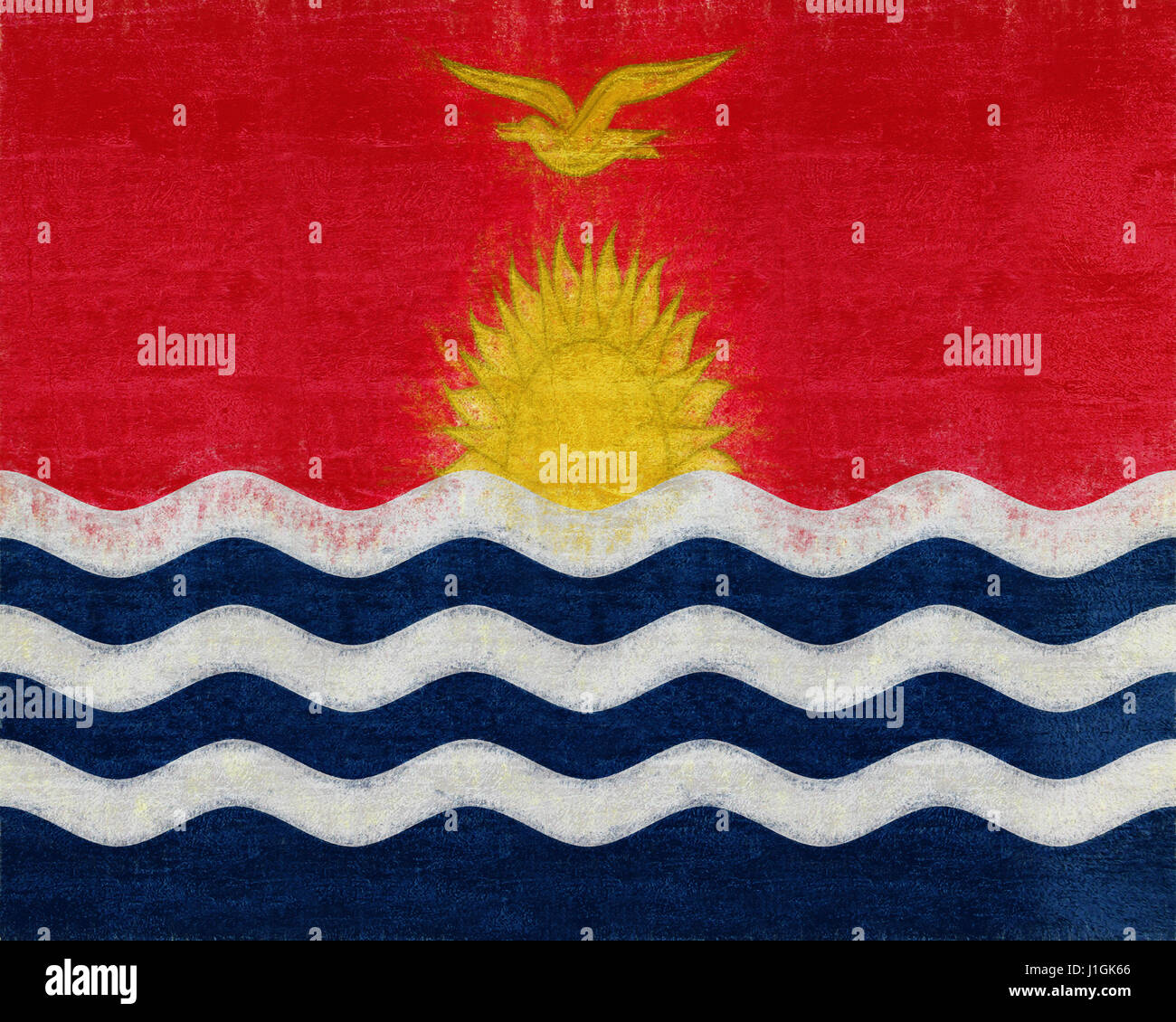 Illustration of the flag of Kiribati with a grunge look - Stock Image